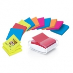 Dispenser POST-IT Z-NOTES PRO wit + 12 neon blokken